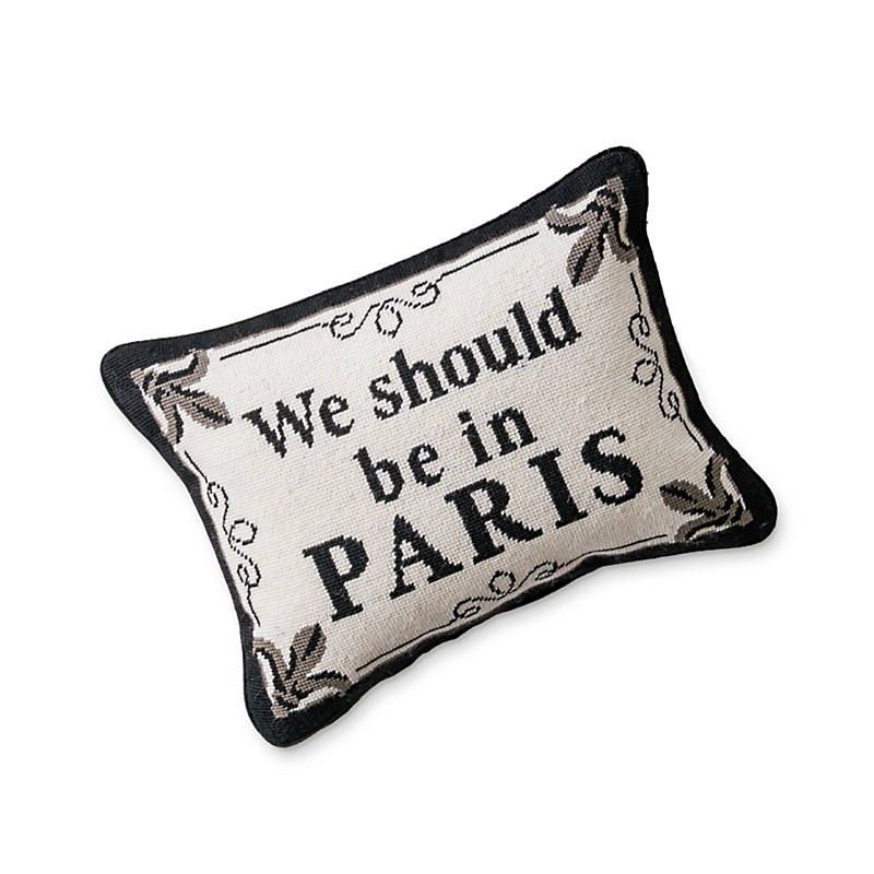 'We Should Be In Paris' Needlepoint Pillow