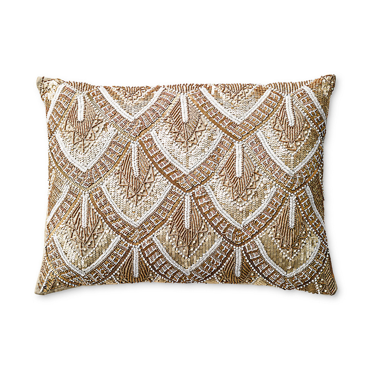 Avalon Gold Beaded Pillow