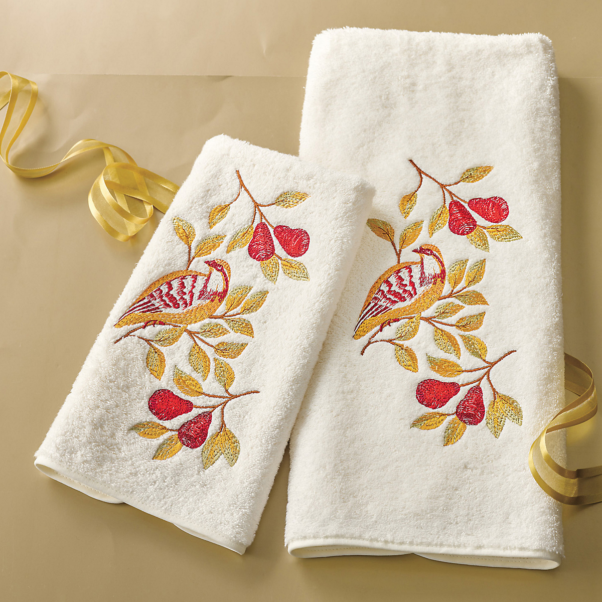 Embroidered Partridge Guest Towels