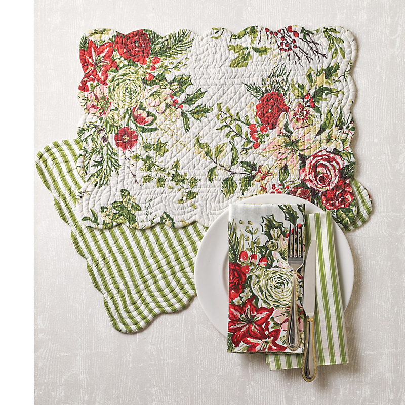 Christmas Rose Reversible Table Linens