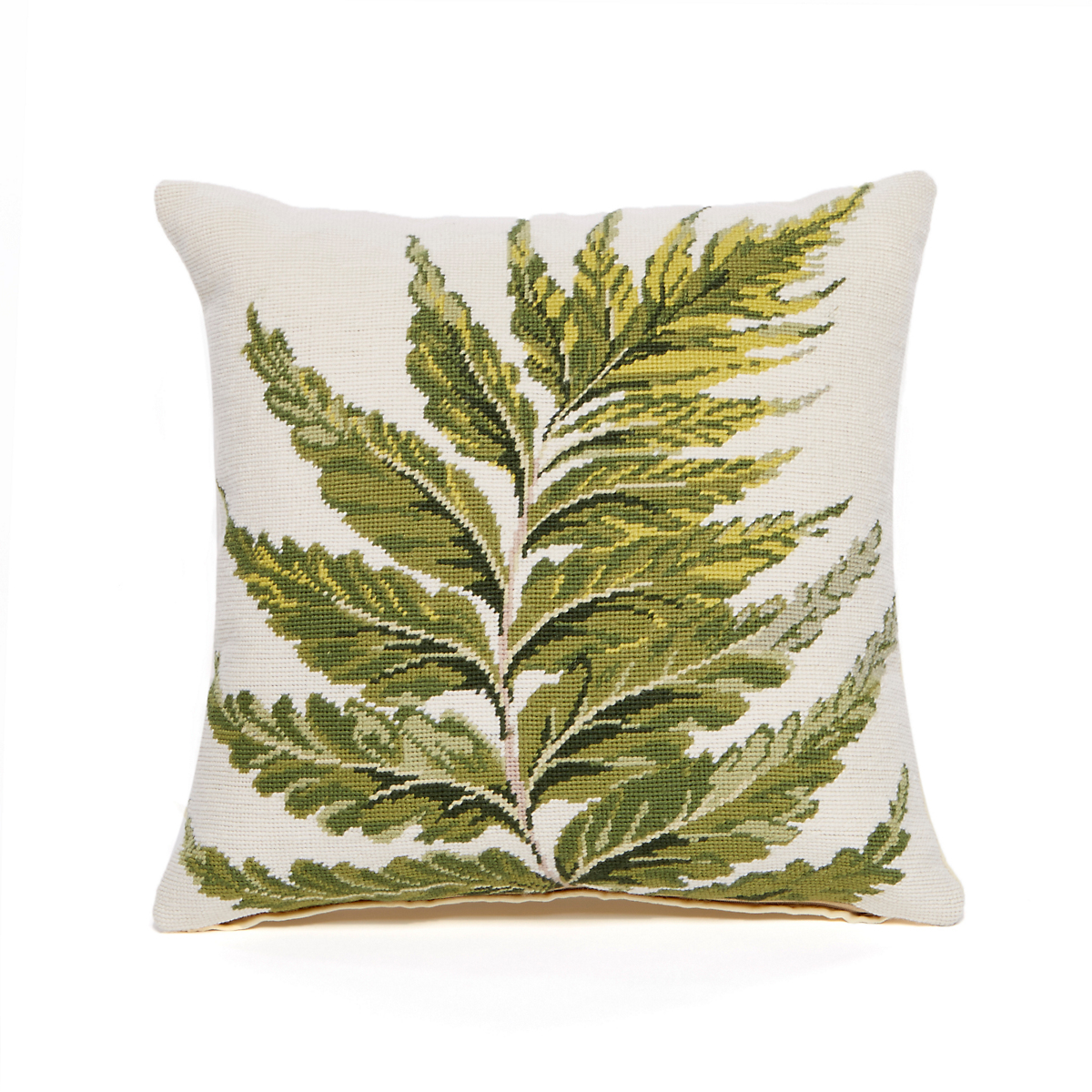 Garden Holly Fern Needlepoint Pillow