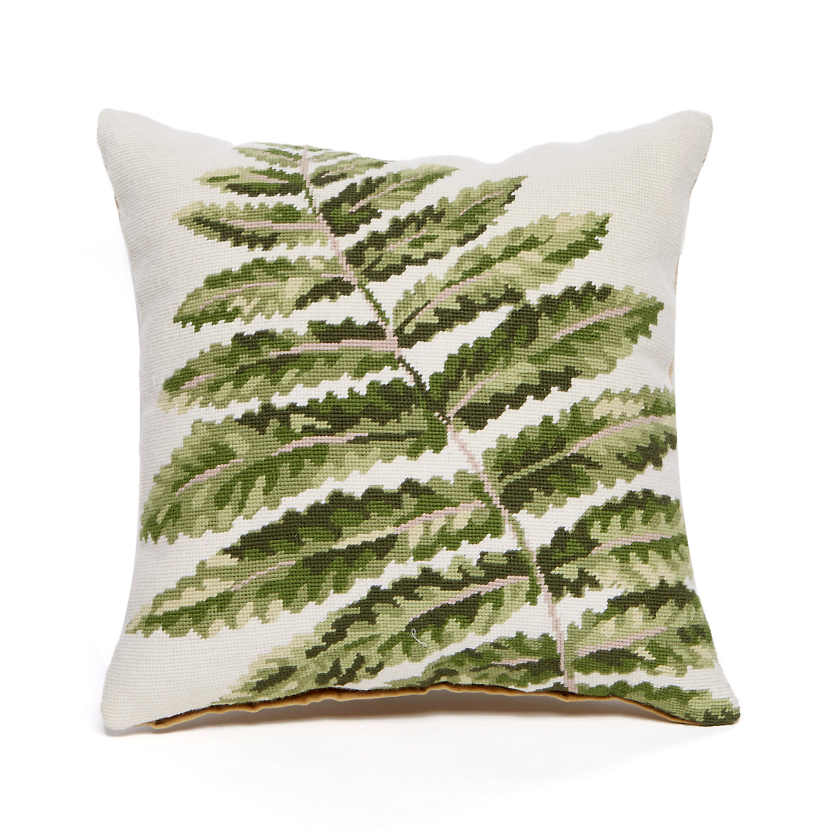 Garden Feather Fern Needlepoint Pillow