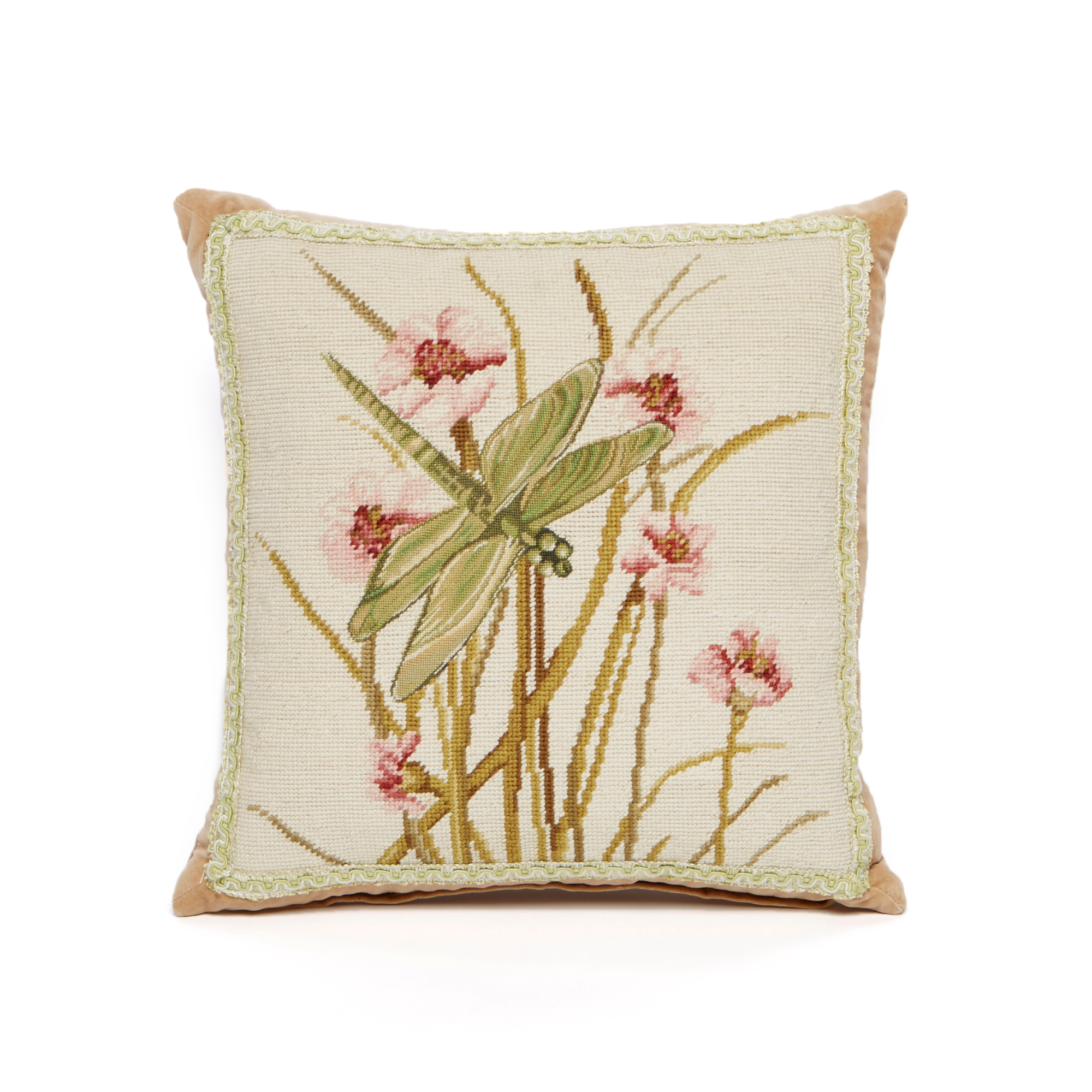 Garden Dragonfly Orchid Needlepoint Pillow