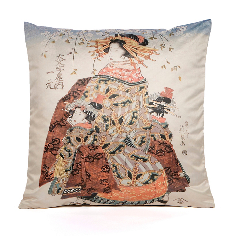 Geisha With Brown Kimono Pillow