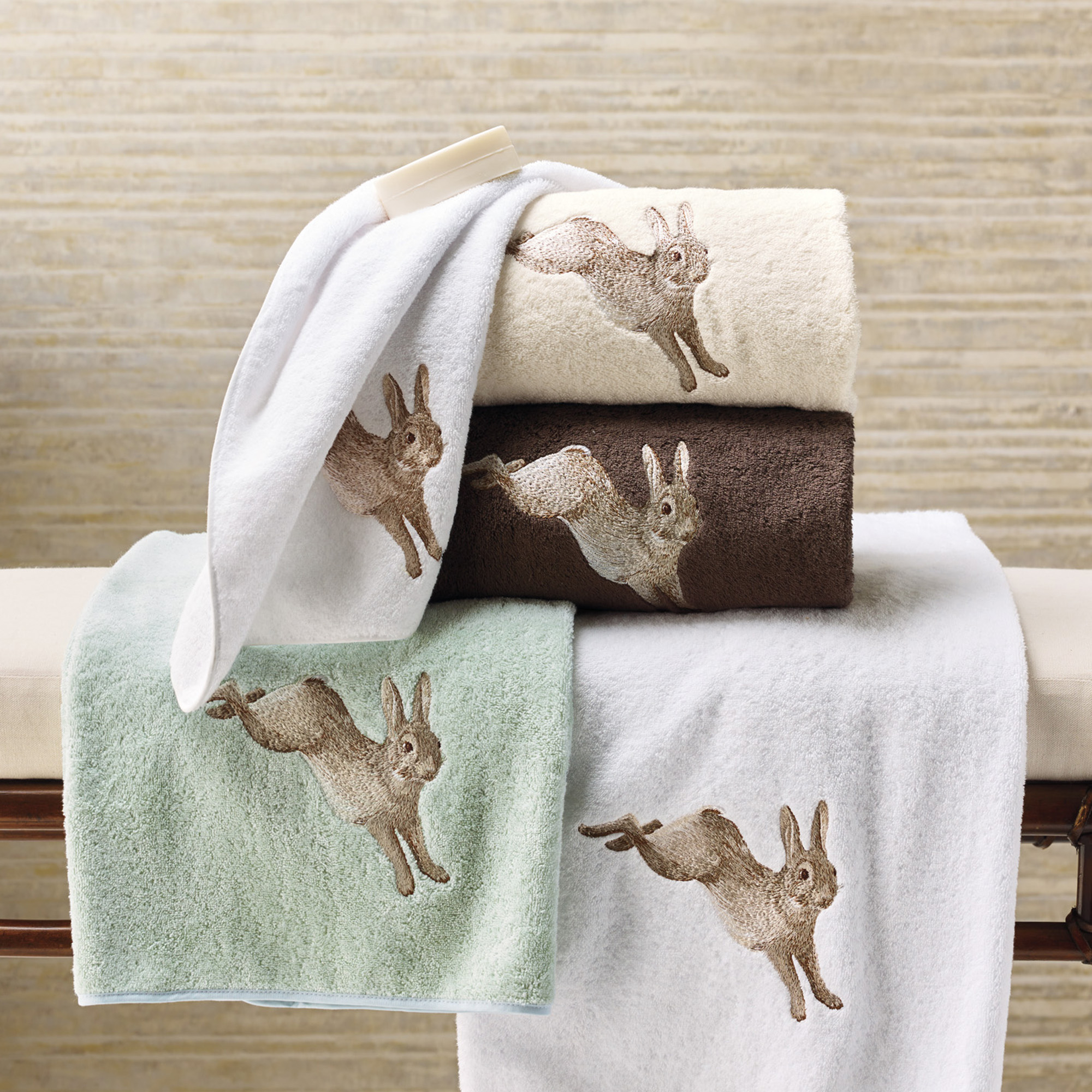 Embroidered Rabbit Towels