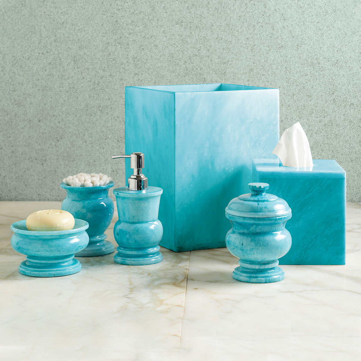Sky blue marble bath accessories gump 39 s for Marble bathroom accessories