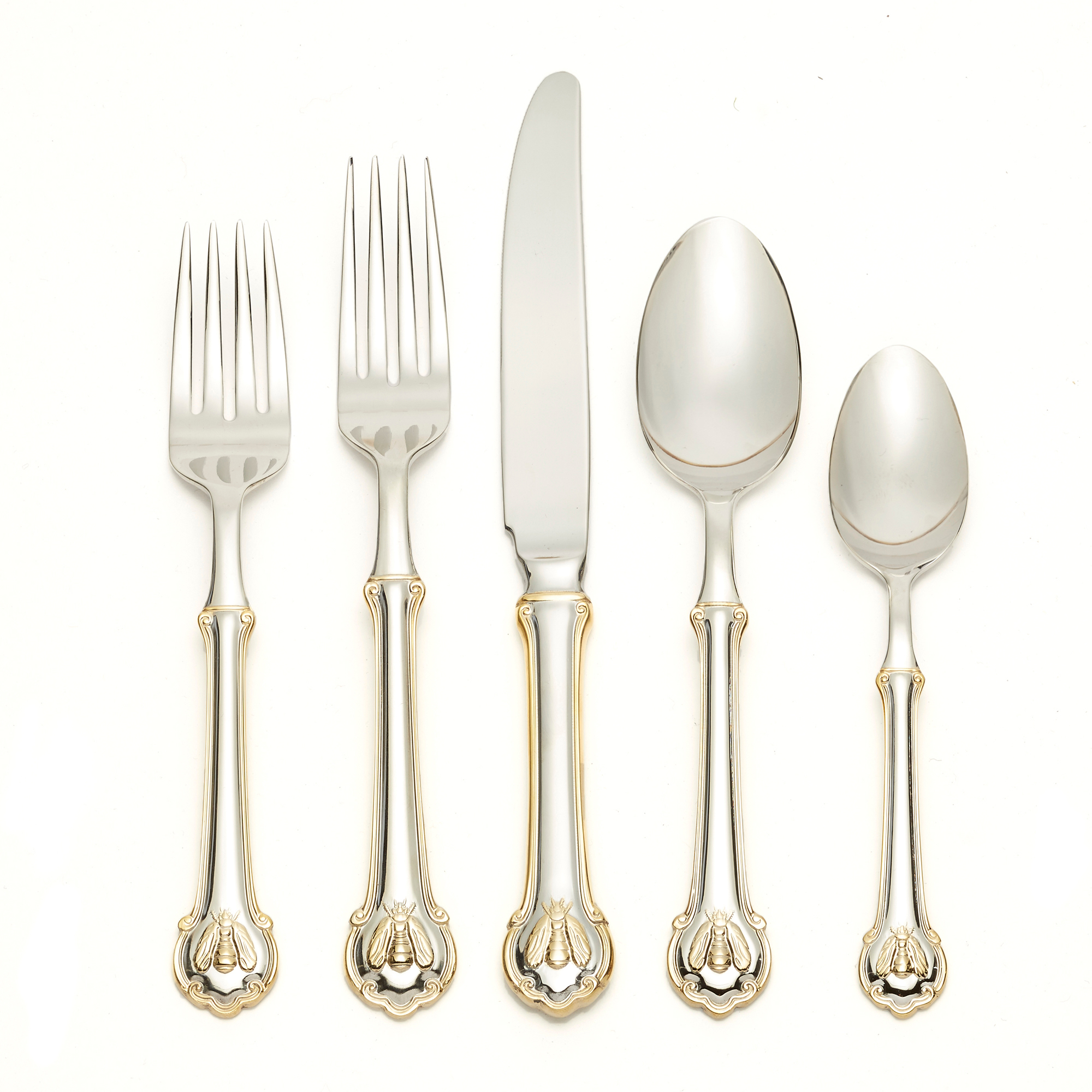 Wallace Napoleon Bee Flatware With Gold Trim