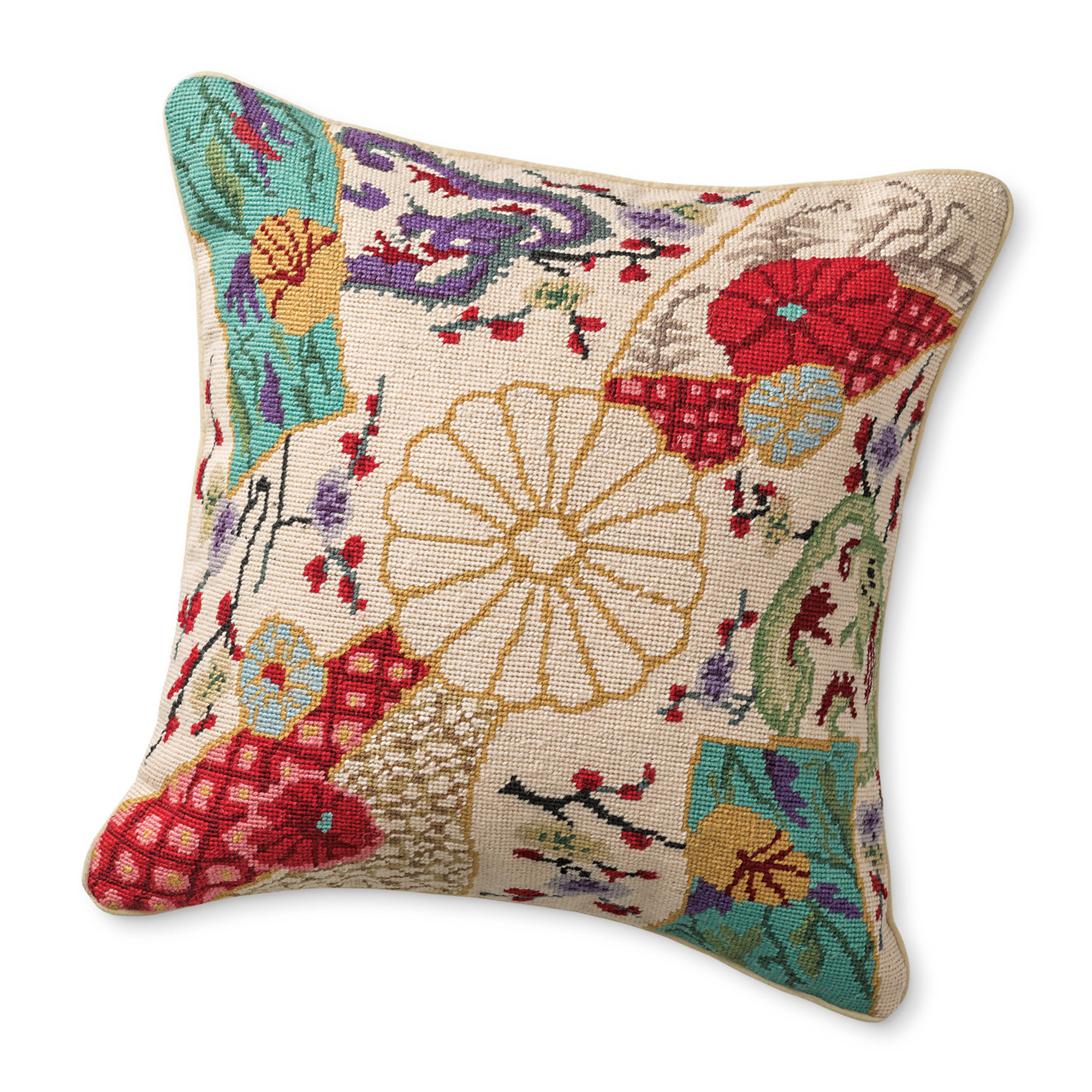 Imari Dragon Needlepoint Pillow