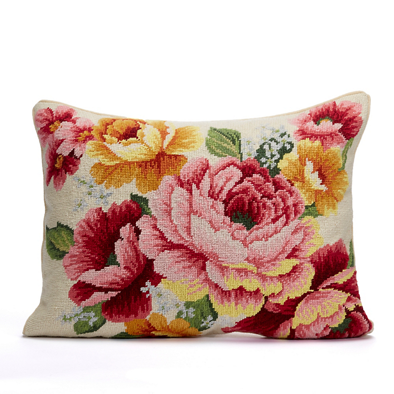 Cottage Garden Peony Needlepoint Pillow