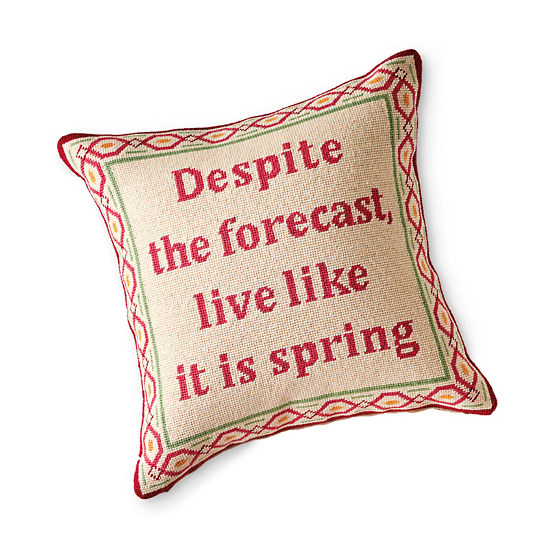 Cottage Garden 'Live Like It Is Spring' Needlepoint Pillow
