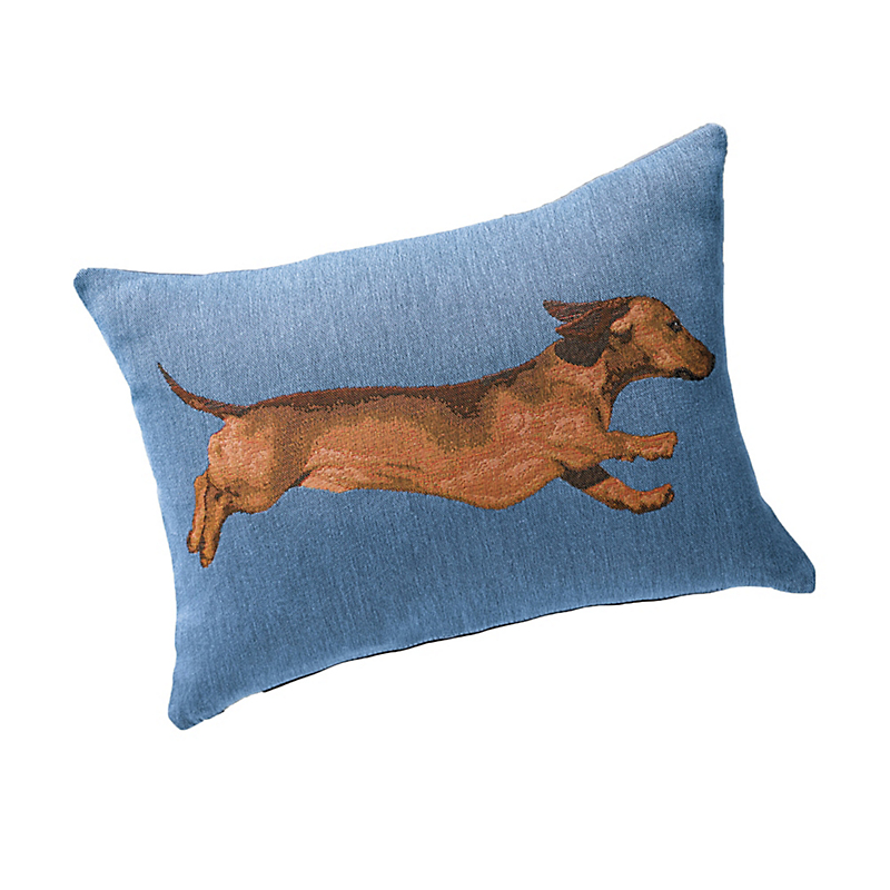 French Tapestry Running Dachshund Pillow