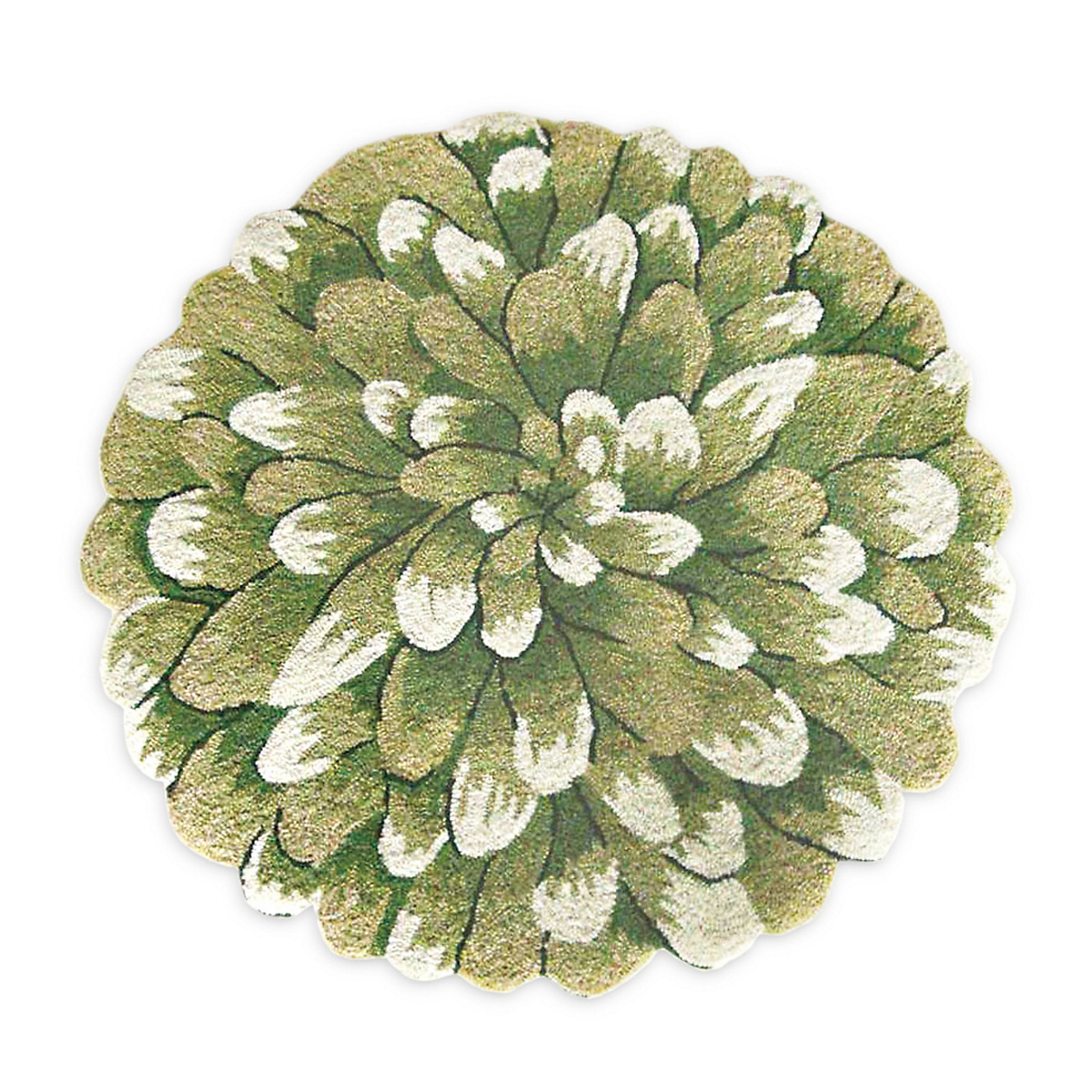 Green Chrysanthemum Accent Rugs