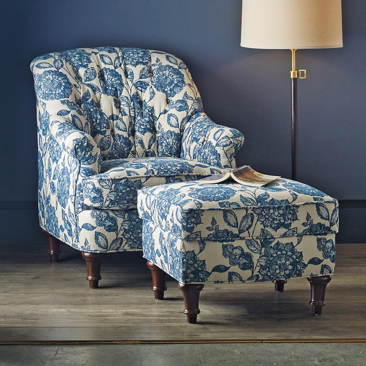 Kendall Blue Floral Chair U0026 Ottoman