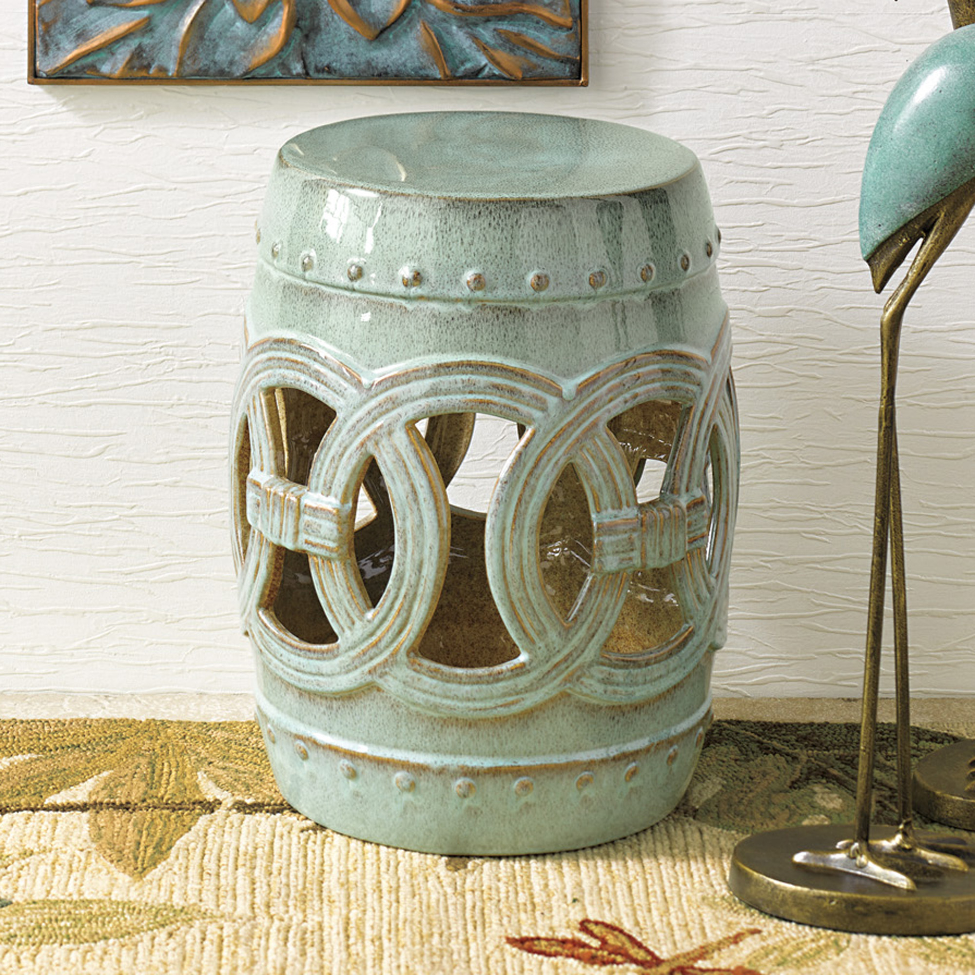 Linking Rings Garden Stool, Seaglass Blue