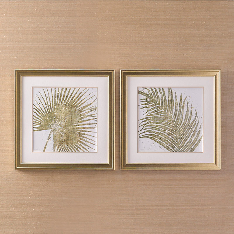 Two-Piece Gold Palms Prints
