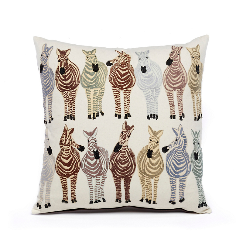 Wild World Embroidered Zebra Pillow