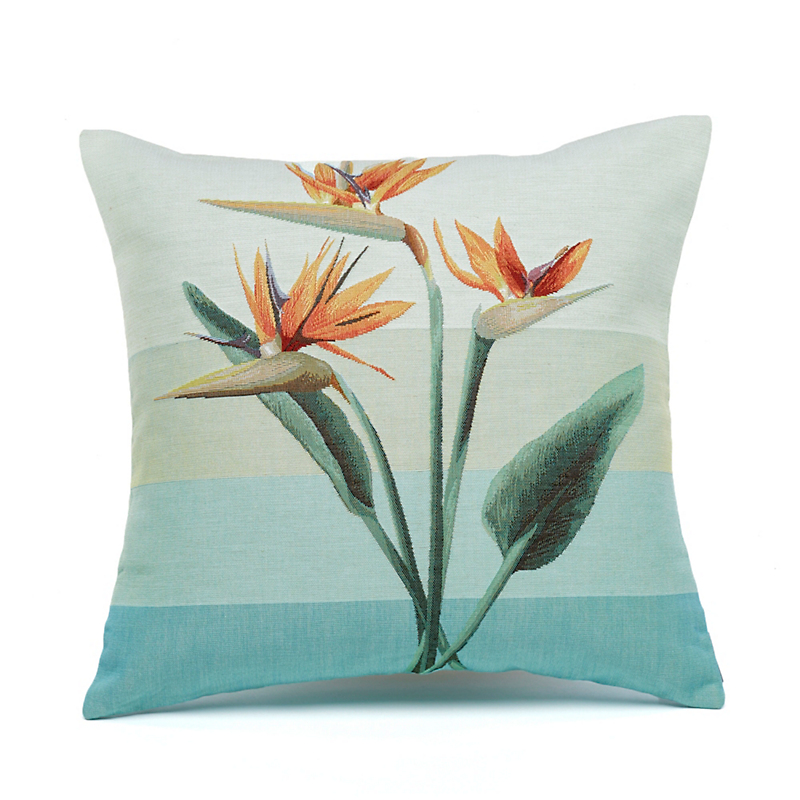 Bird-Of-Paradise Tapestry Pillow, Three Flowers