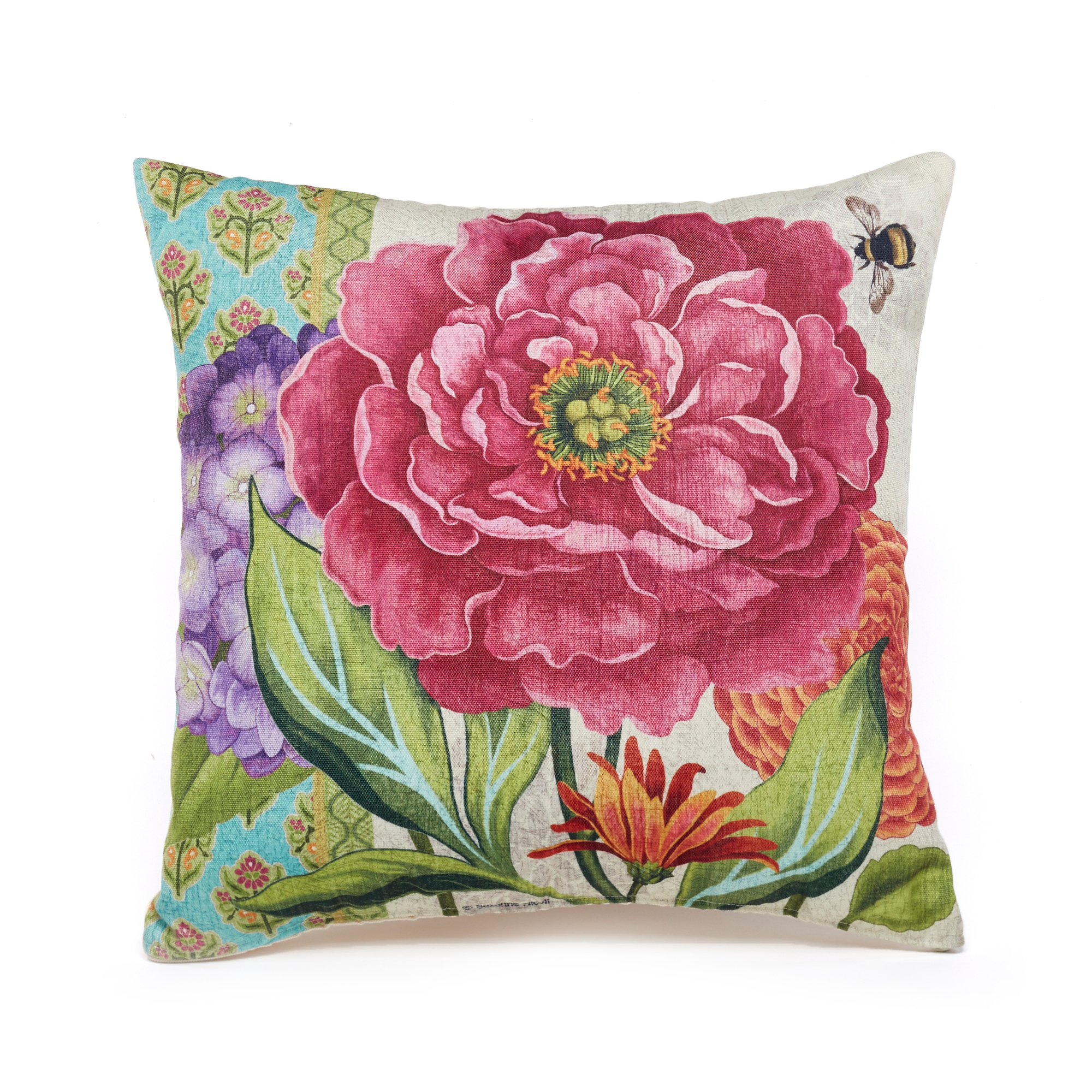 Sunroom Pink Peony Outdoor Pillow