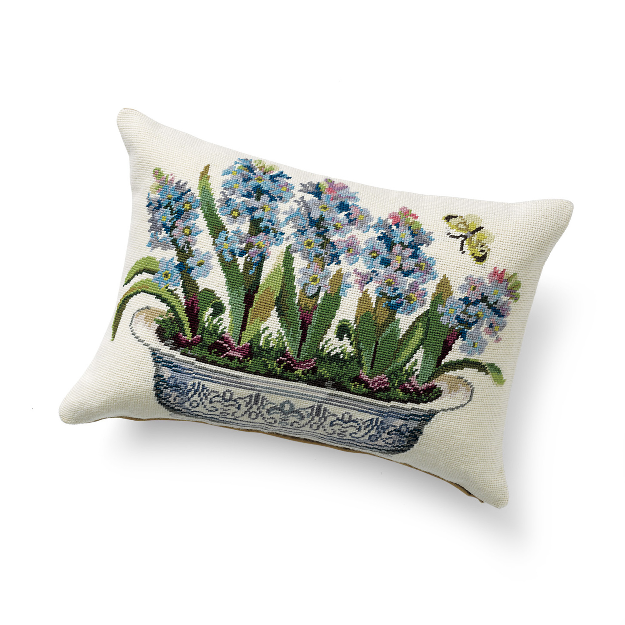 Hyacinth In Blue & White Pot Needlepoint Pillow