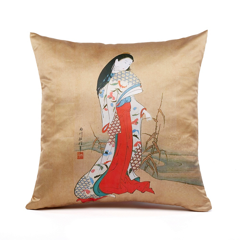 Geisha In Red Pillow