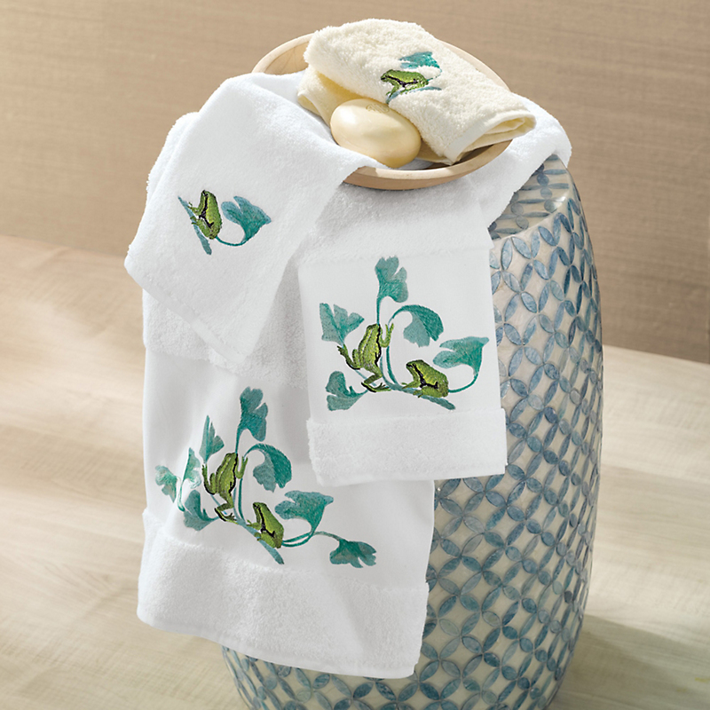 Embroidered Frog Towels
