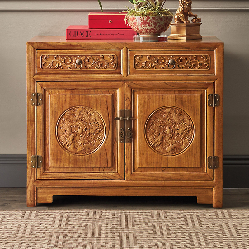 Handcarved Dragon Cabinet, Brown