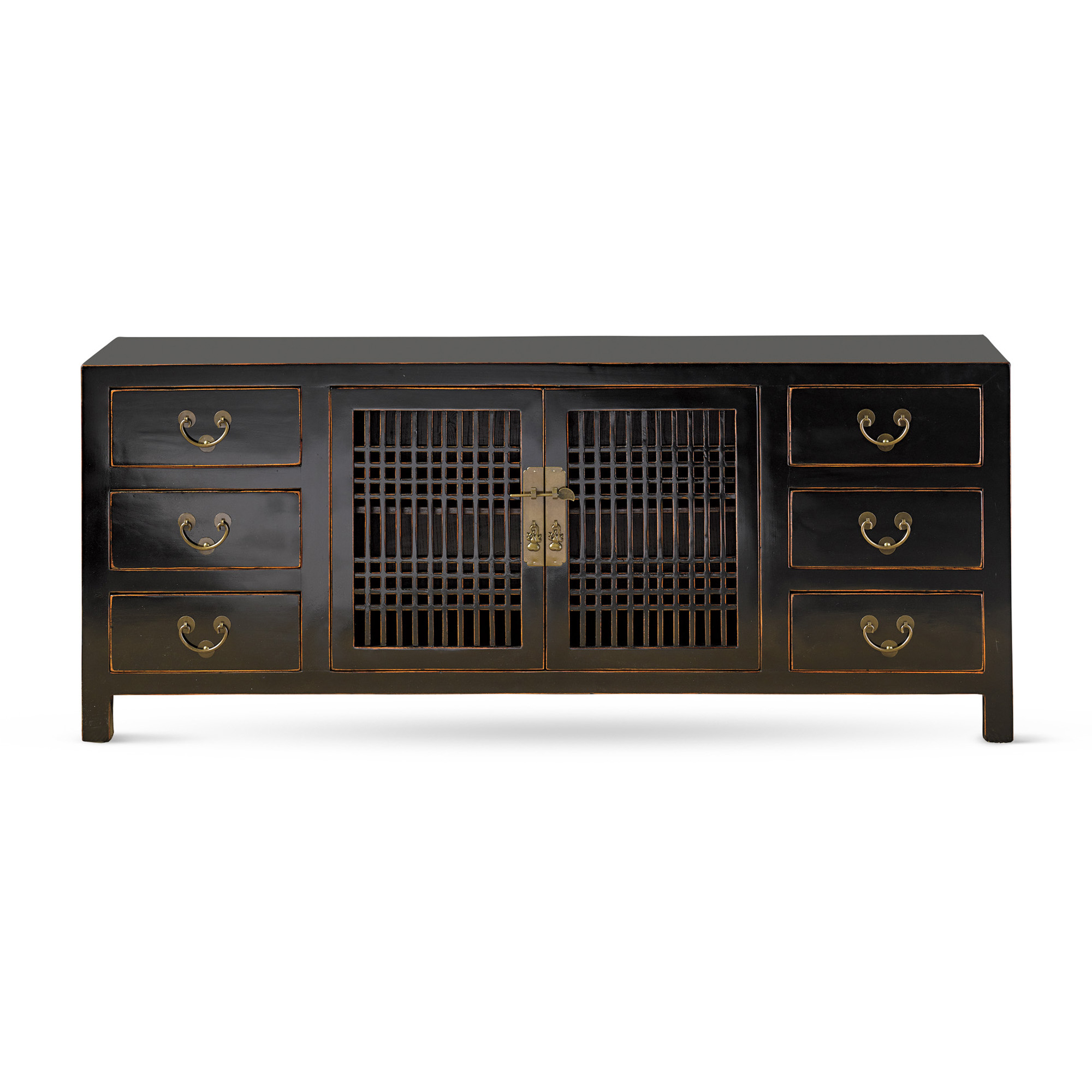 Yating Lacquer Slatted Doors Console