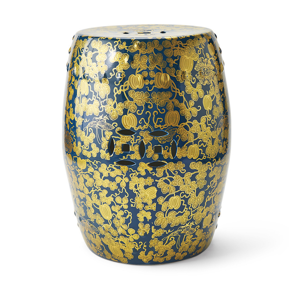 Midnight Porcelain Garden Stool
