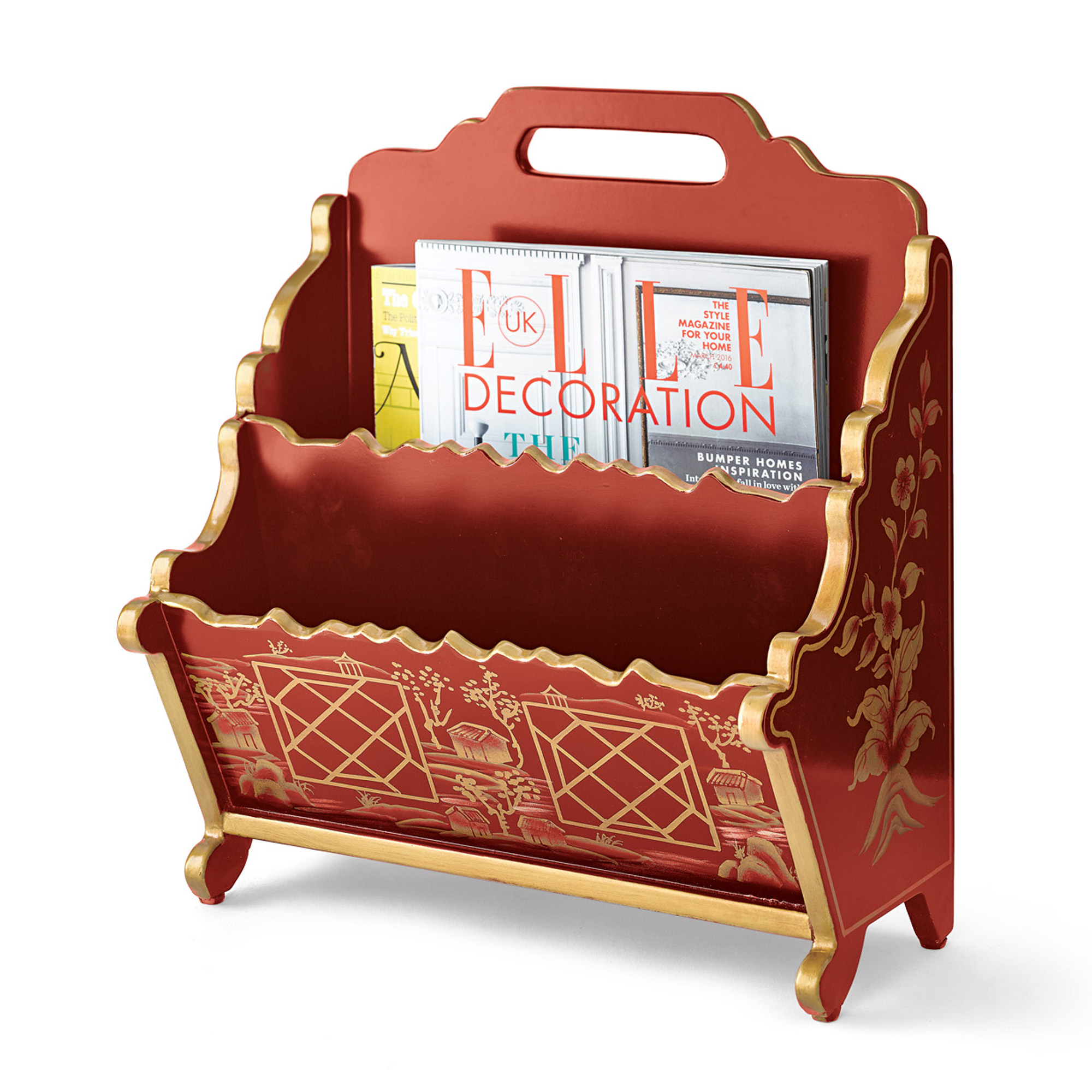 Red Chinoiserie Magazine Rack