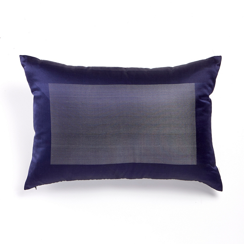 Ana Blue Blocked Brocade Pillow
