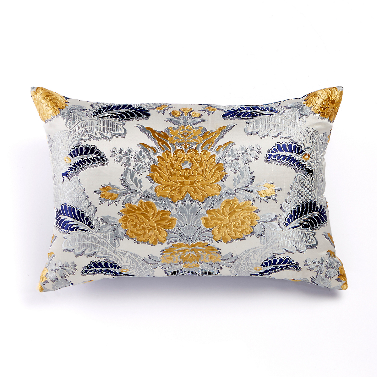 Chandra Blue Floral Silk Lumbar Pillow