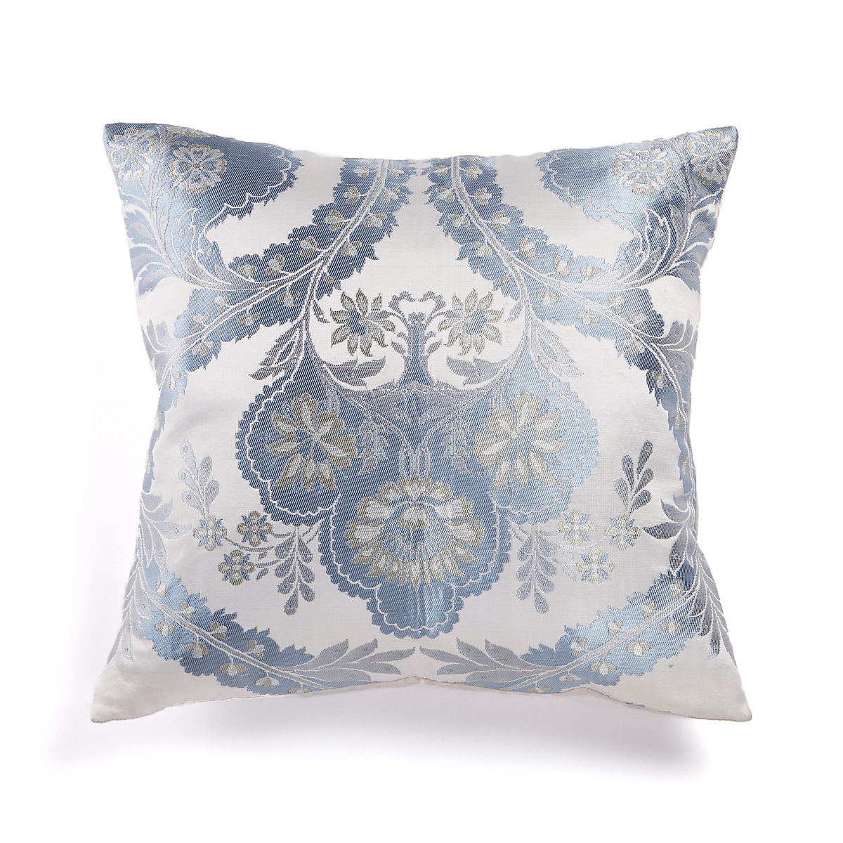 Floral Silk Brocade Pillow, Blue