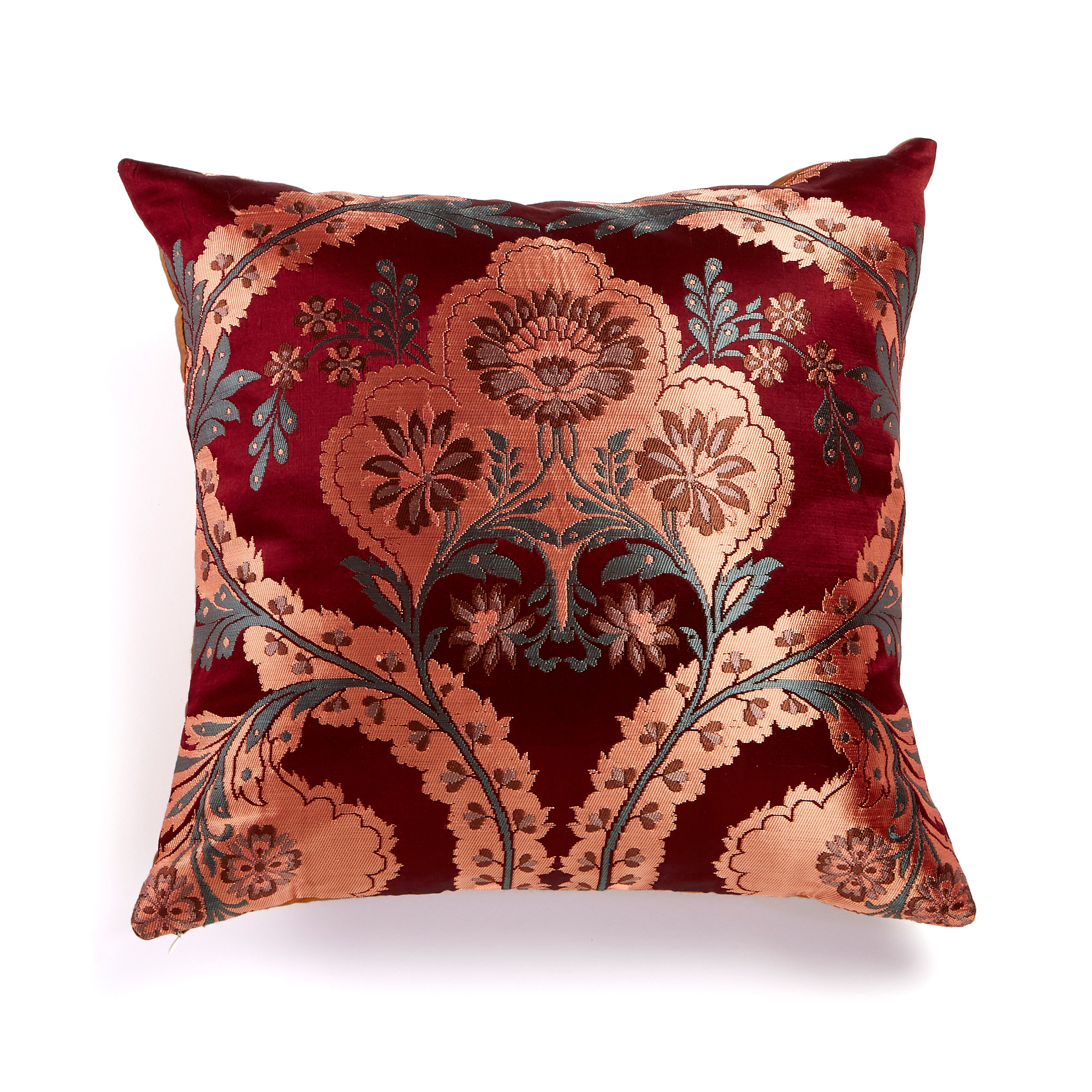 Floral Silk Brocade Pillow, Maroon & Copper