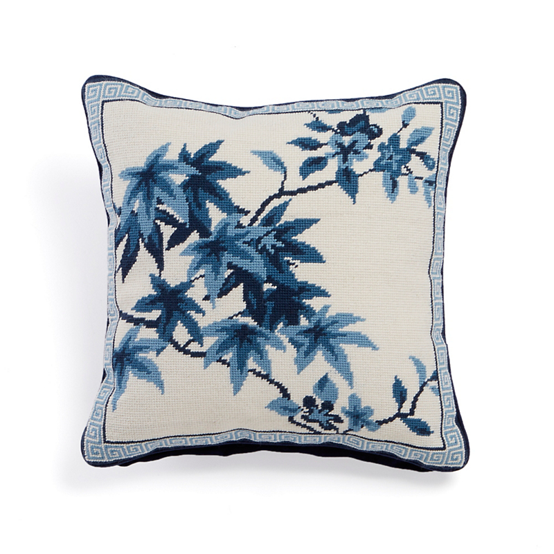 Canton Blue Maple Leaf Needlepoint Pillow