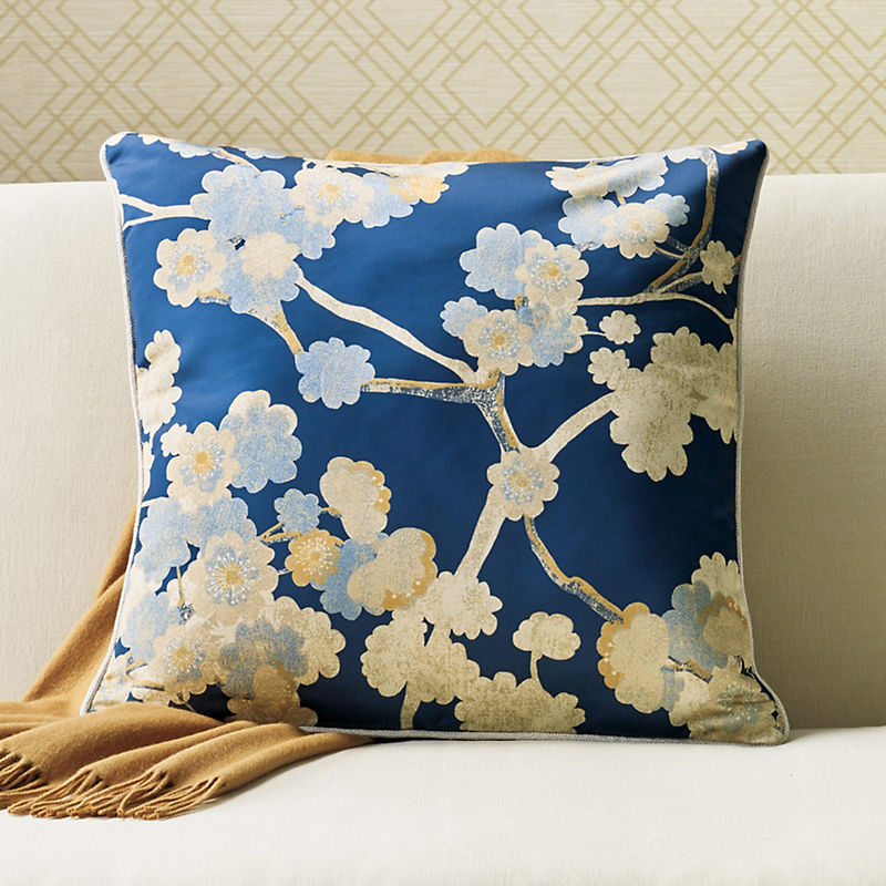 Cherry Blossom Blue Pillow