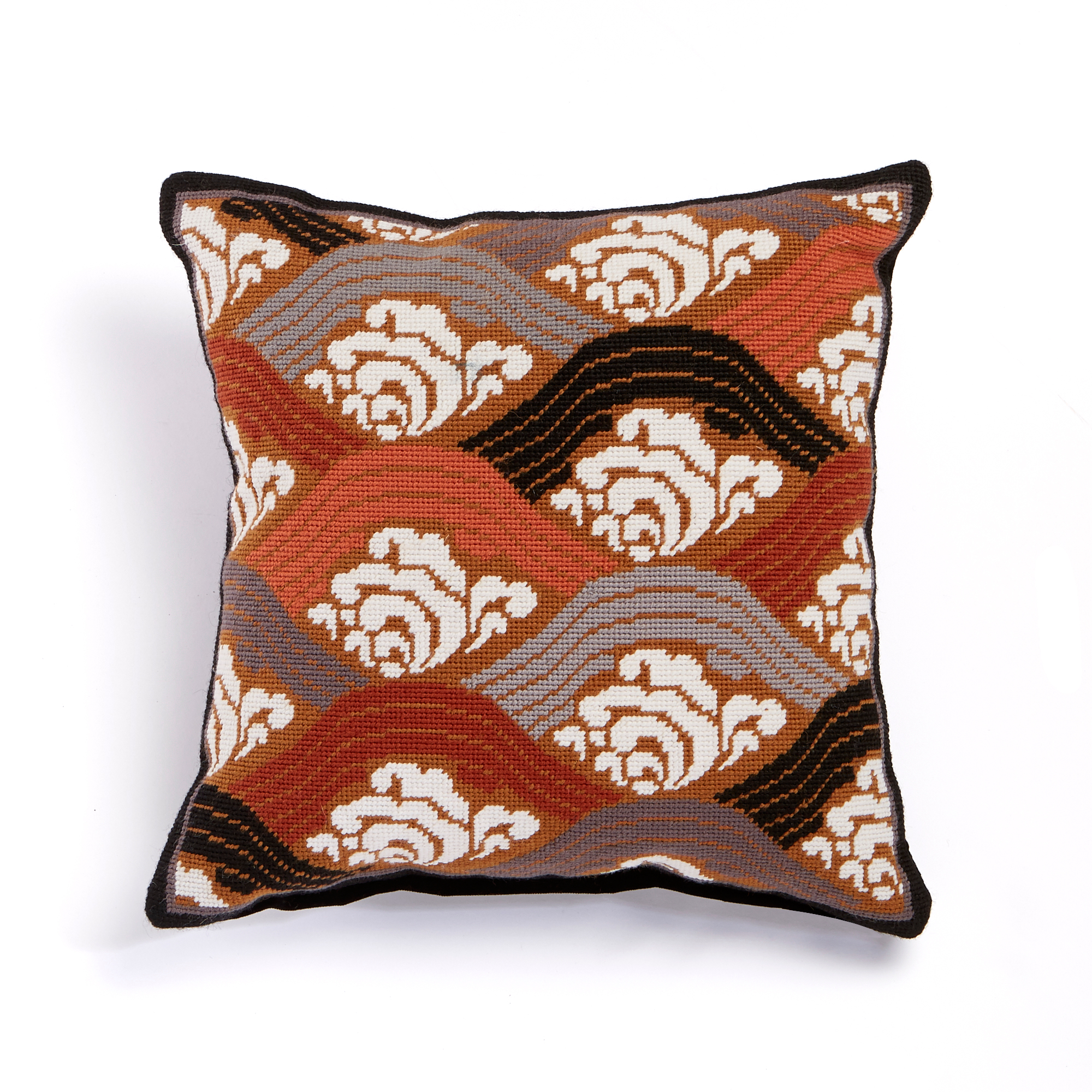 Tea Garden Japanese Waves Needlepoint Pillow