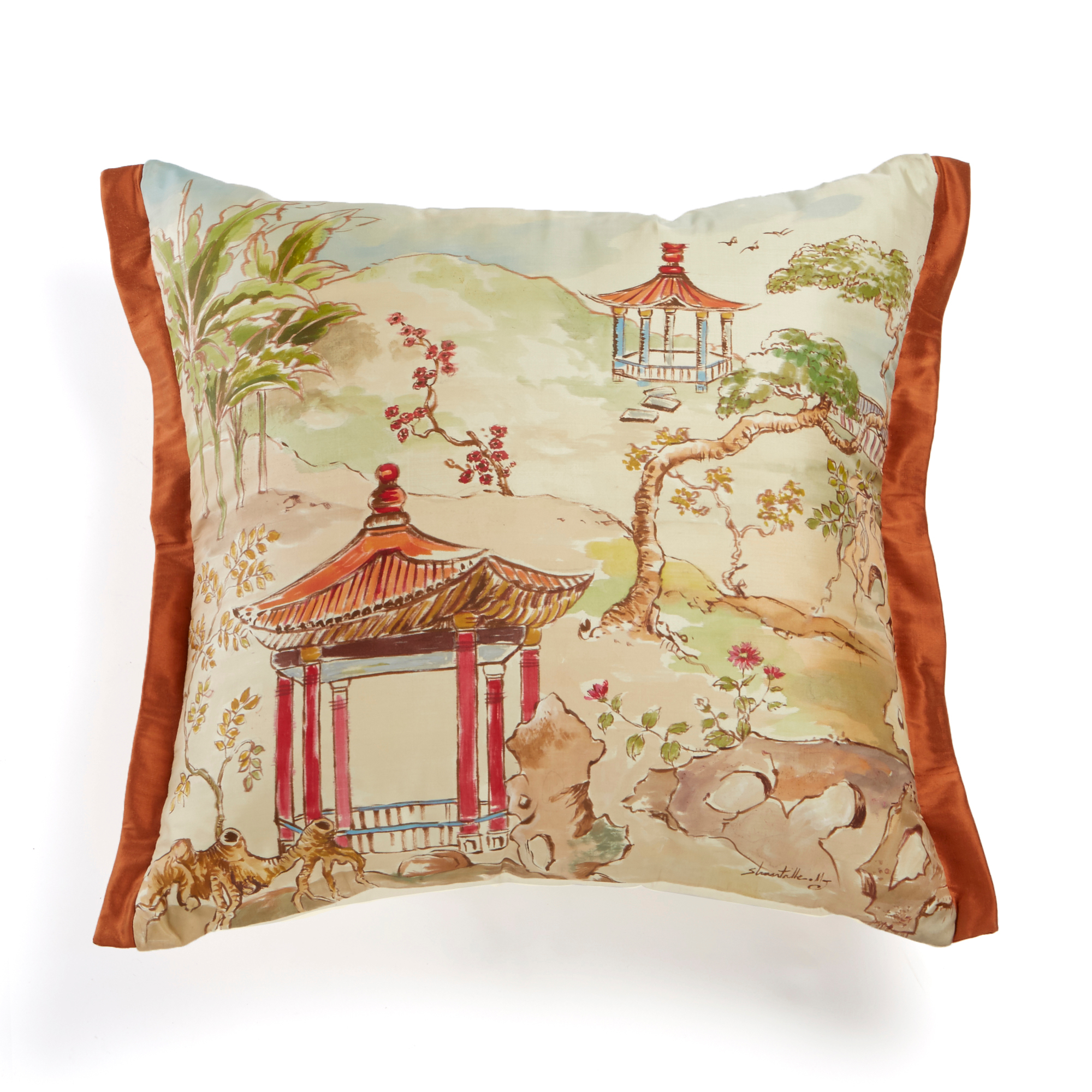 Handpainted Pagoda Pillow