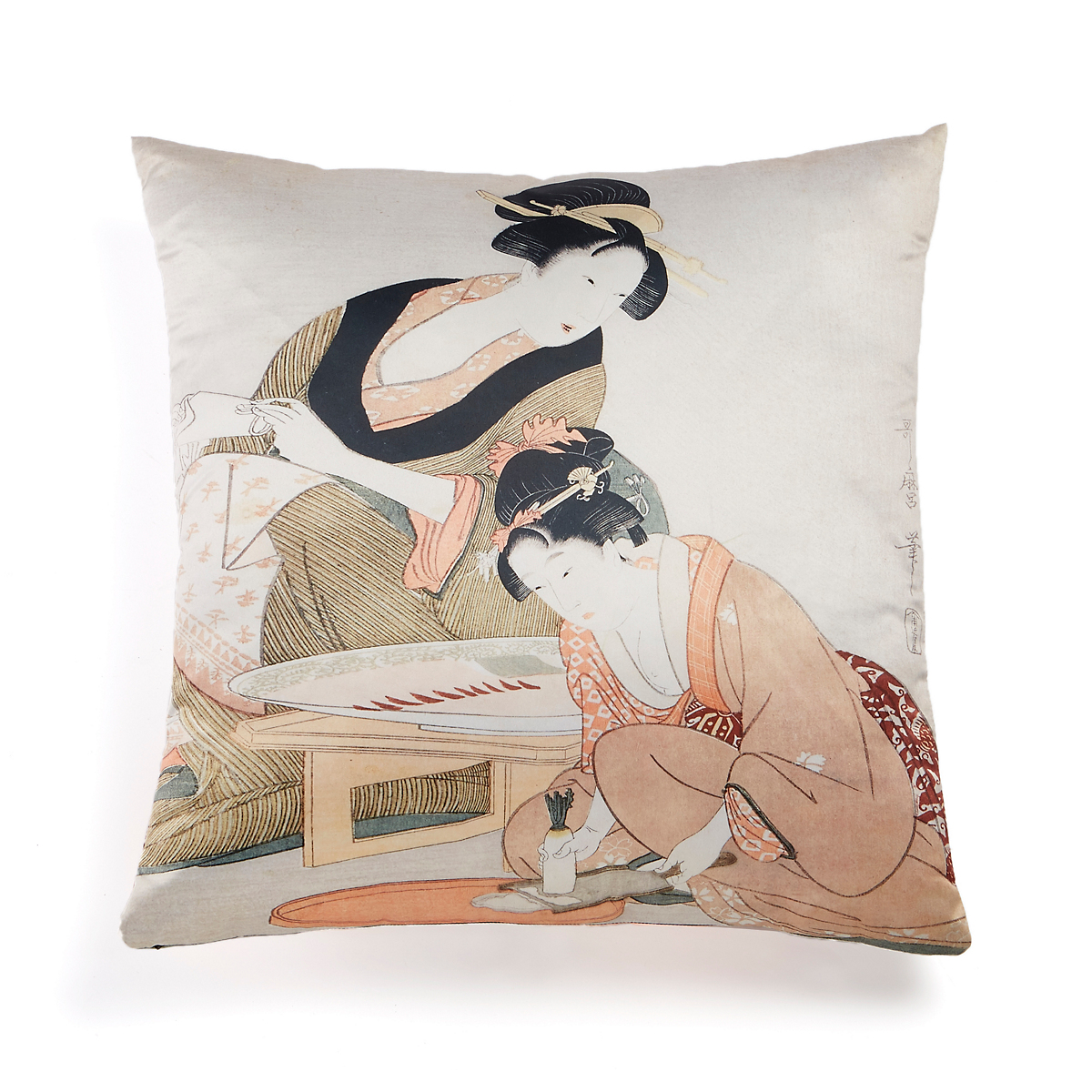 Edo Period 'Geishas In Peach Robes' Pillow