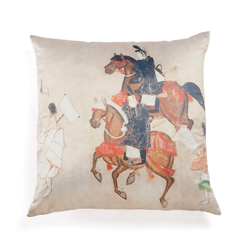 Edo Period 'Rouge Horsemen' Pillow