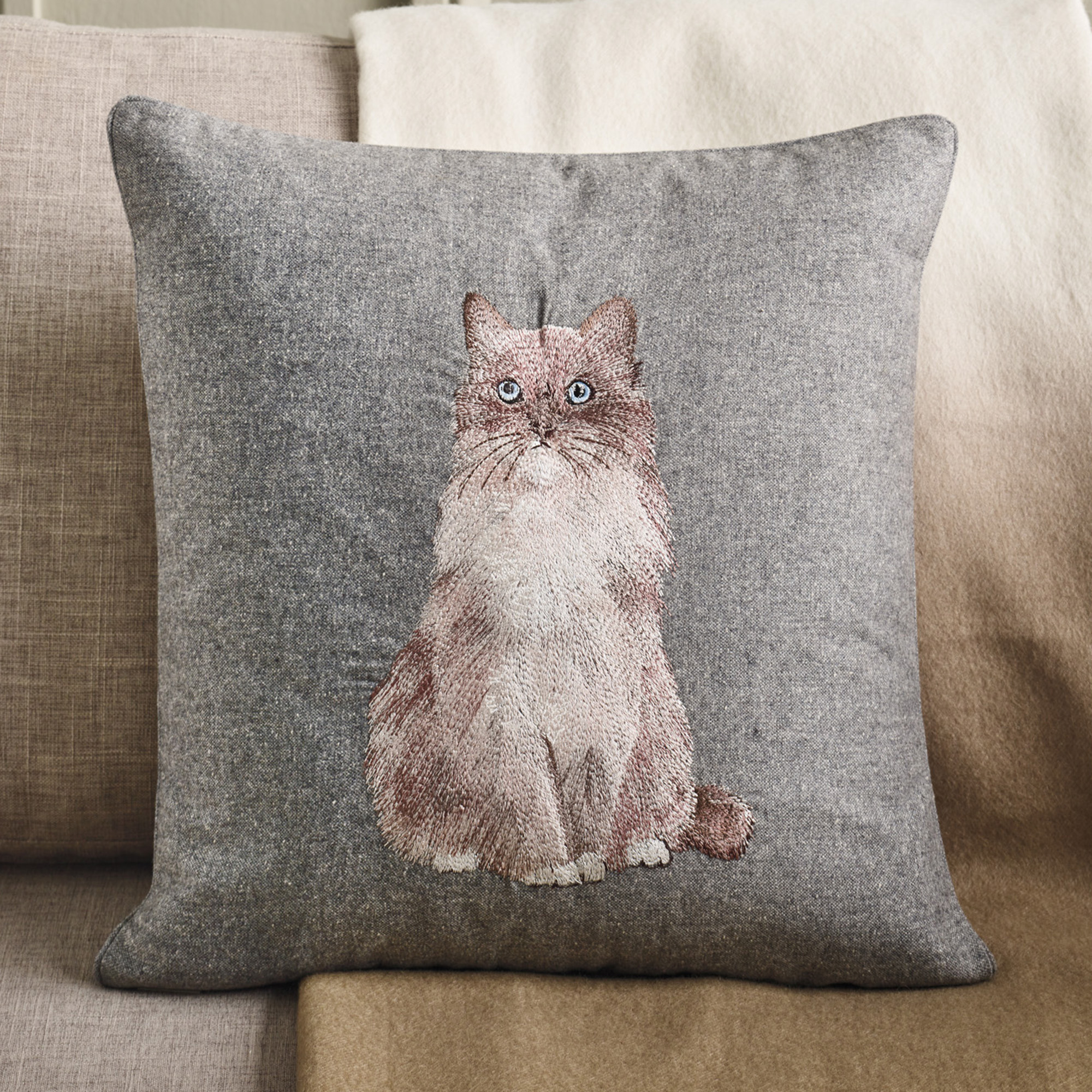 French Persian Cat Embroidered Pillow
