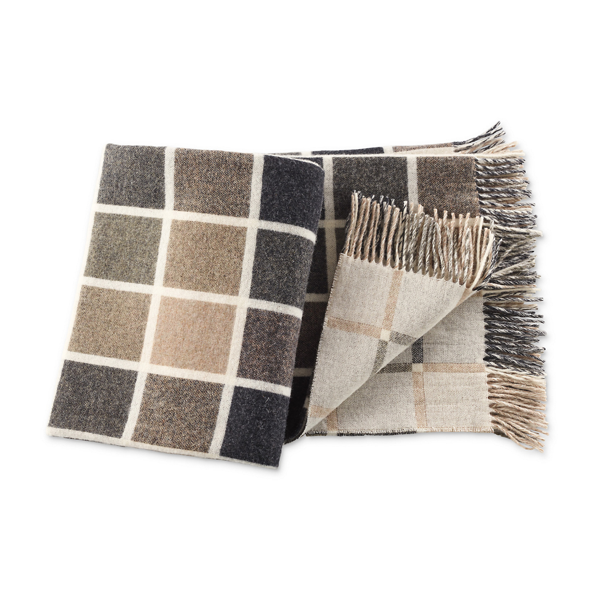Windowpane Wool Throw, Neutral
