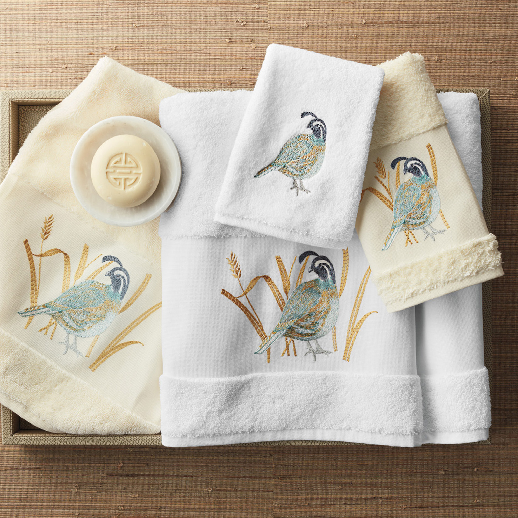 Embroidered Quail Towels