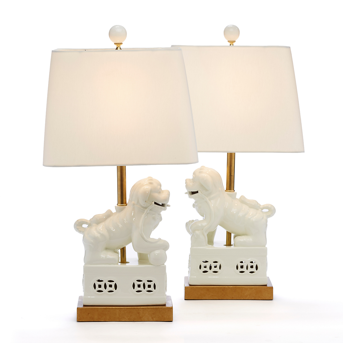 White Foo Dog Lamps, Set Of 2