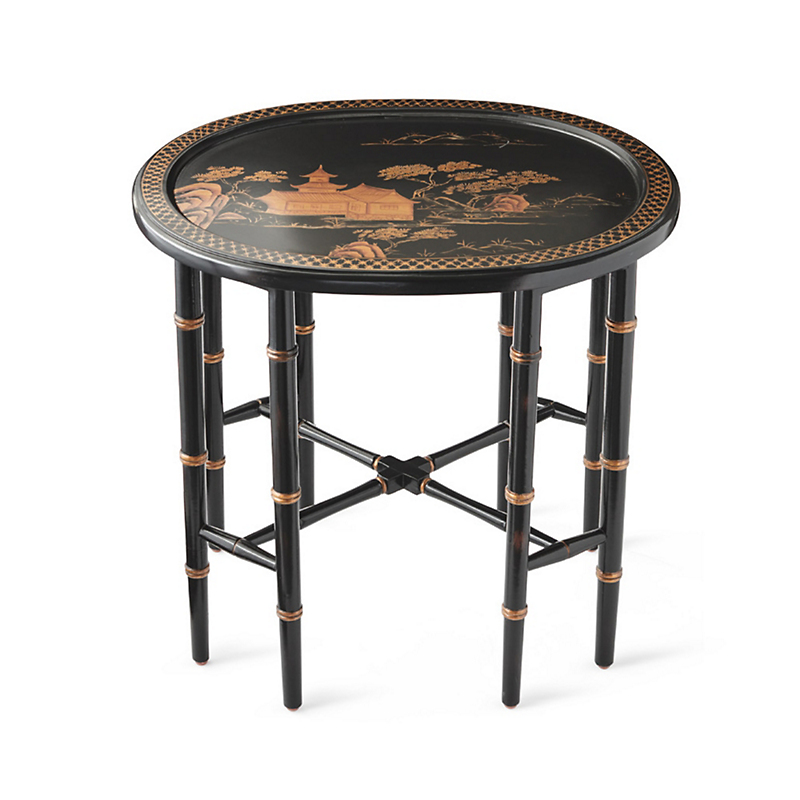 Chinoiserie Oval Side Table