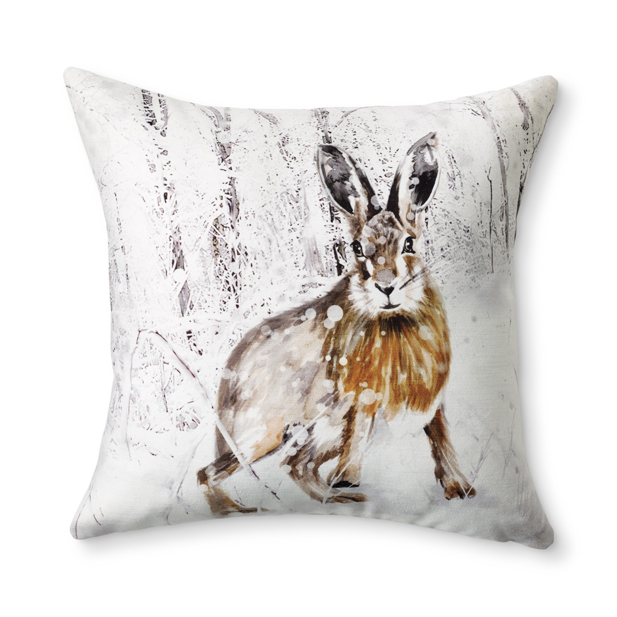 Snowy Woods Snow Bunny Pillow