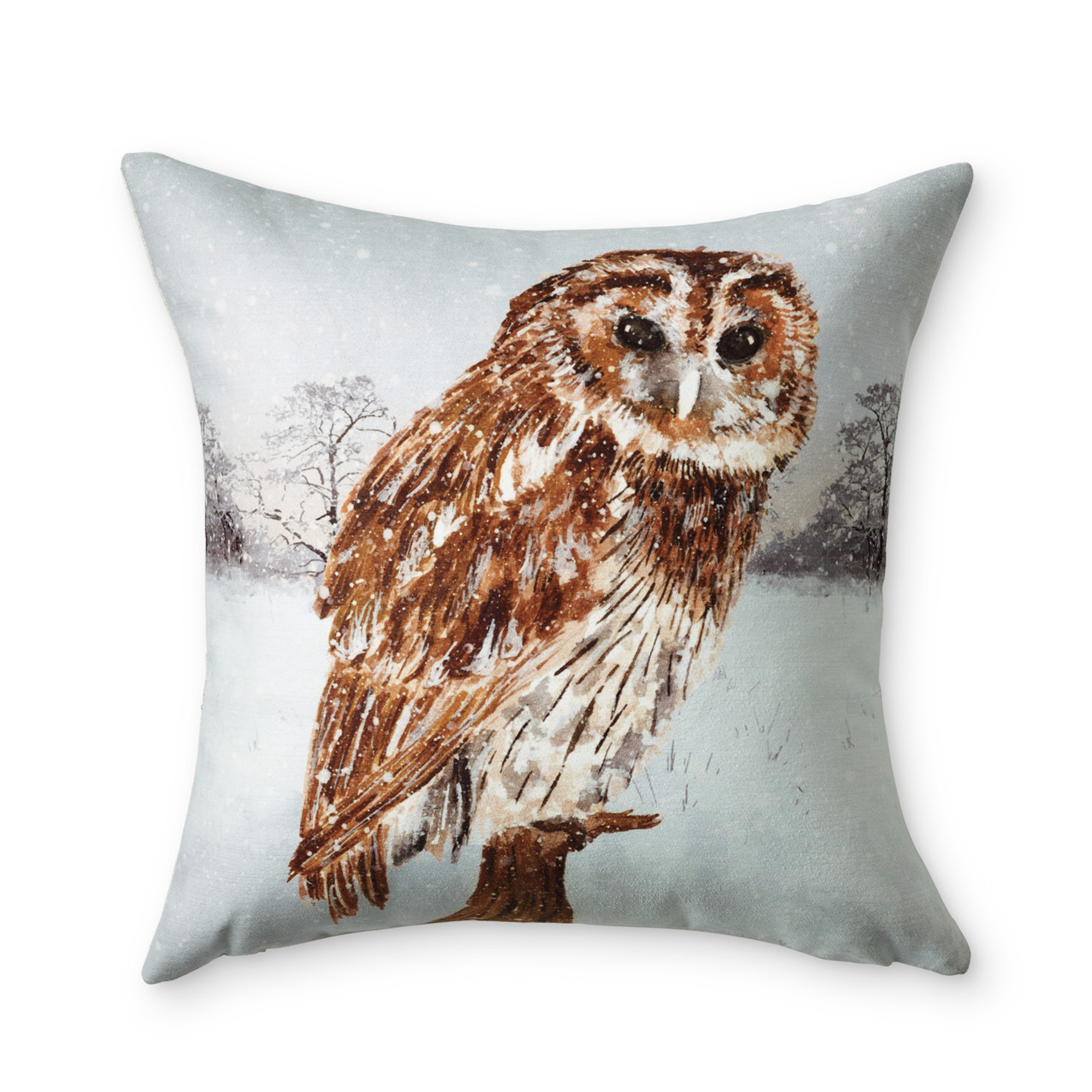 Snowy Woods Snow Owl Pillow