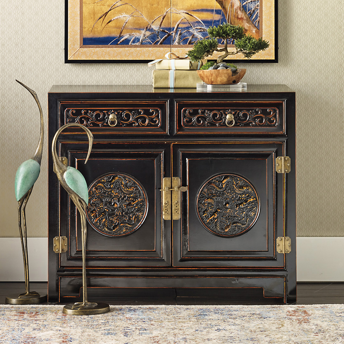 Handcarved Dragon Cabinet, Black