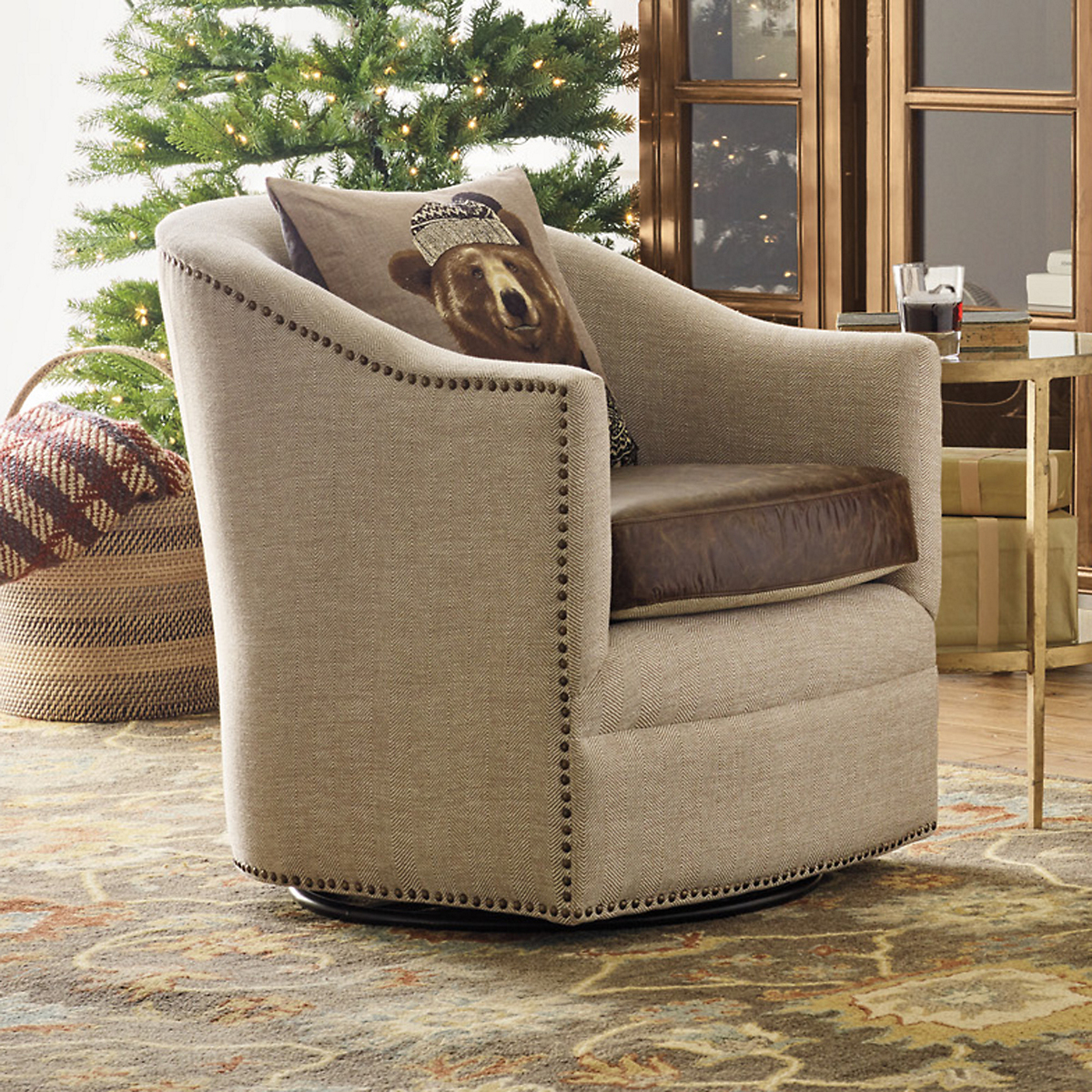 Spencer Herringbone Swivel Chair