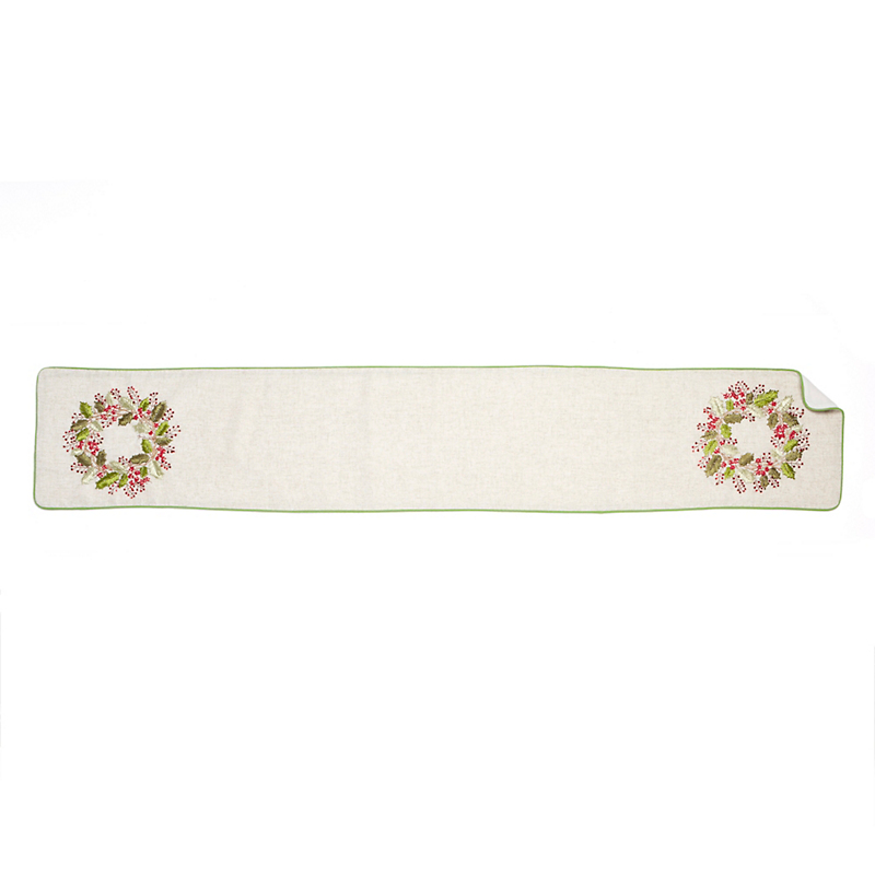 Embroidered Holly Runner