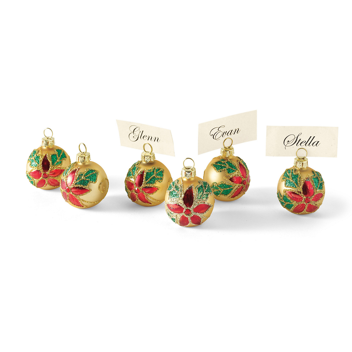 Holly Ornament Placecard Holders